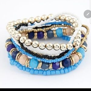 7 Layered Blue Bracelets